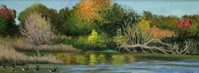 """""""Autumn Colors, Tinicum Marsh""""  8 x 24"""" (sold)"""