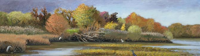 """Approaching Storm, Tinicum Marsh""  10 x 40"" (sold)"