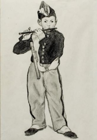 """Copy of Manet's """"The Fifer"""" drawn at age 15."""