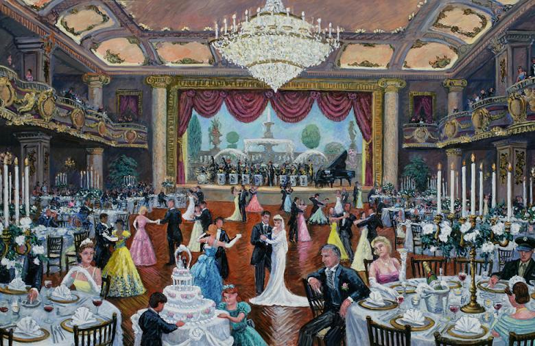 """Grand Ballroom, Bellevue-Stratford Hotel""  48 x 72"" $7500.00"