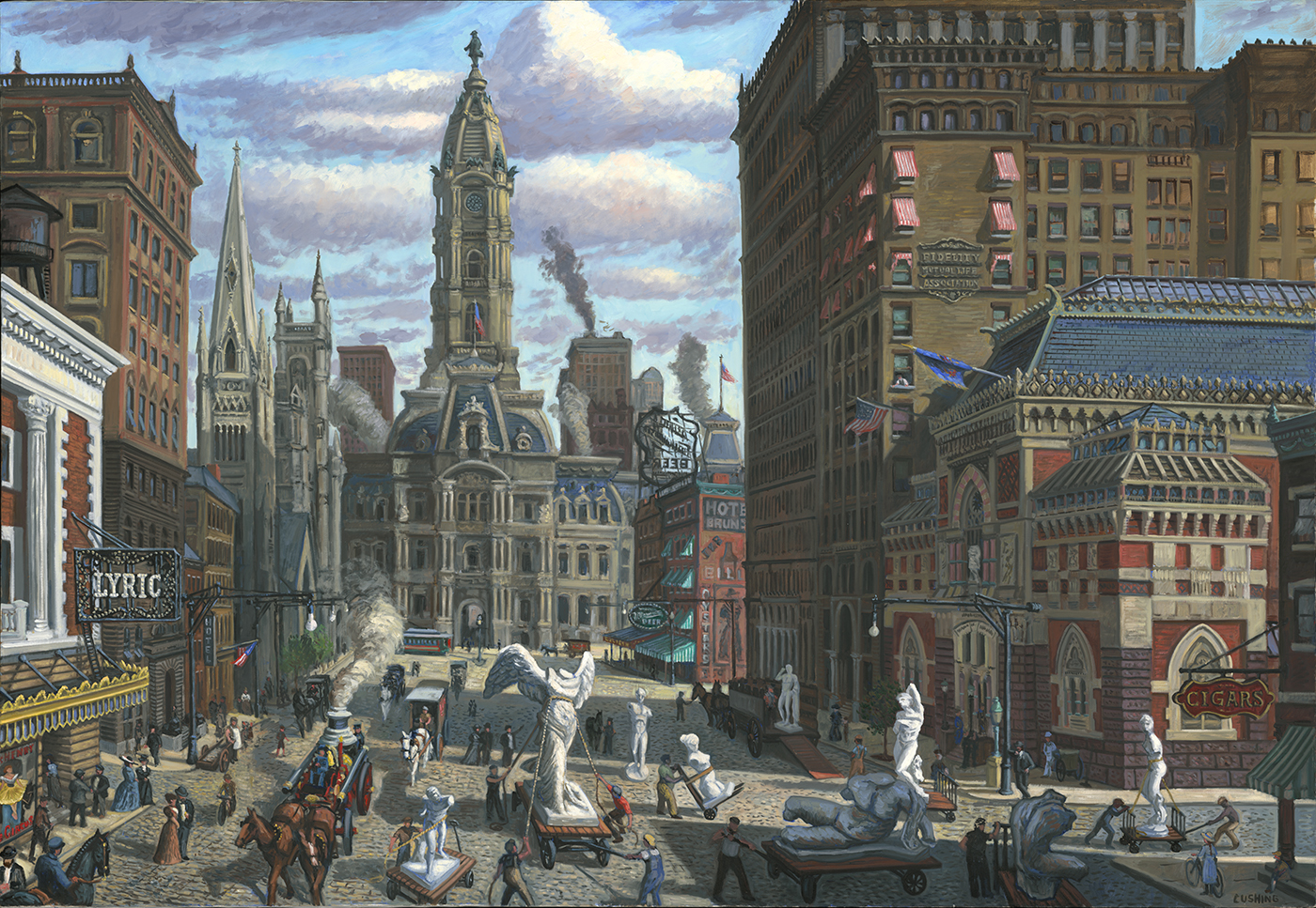 """North Broad Street, Philadelphia, Circa 1905"" A recently completed large painting (fancifully) depicting the delivery of the antique cast collection to The Pennsylvania Academy or the Fine Arts, circa 1905."