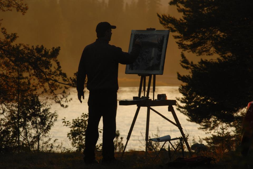 """if you look carefully at this photo, you will notice that the painting """"Midnight Sun...""""(see gallery below) is on my easel."""