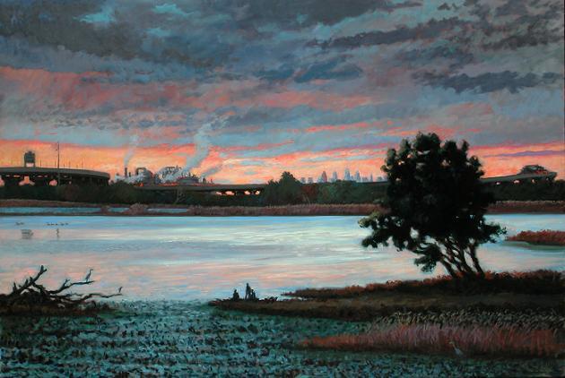 """Philadelphia From Tinicum Marsh""  48 x 72""  $7500.00"