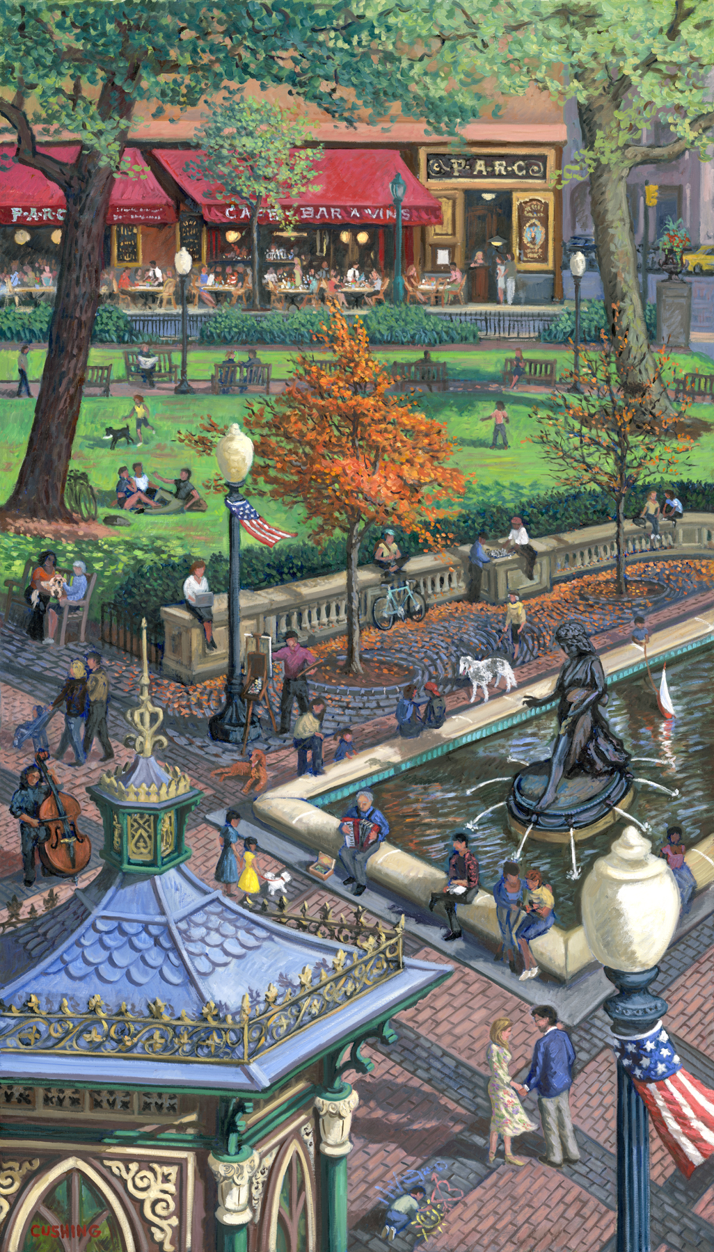 """""""Rittenhouse Square With PARC Restaurant""""  70 x 40""""  (sold)"""