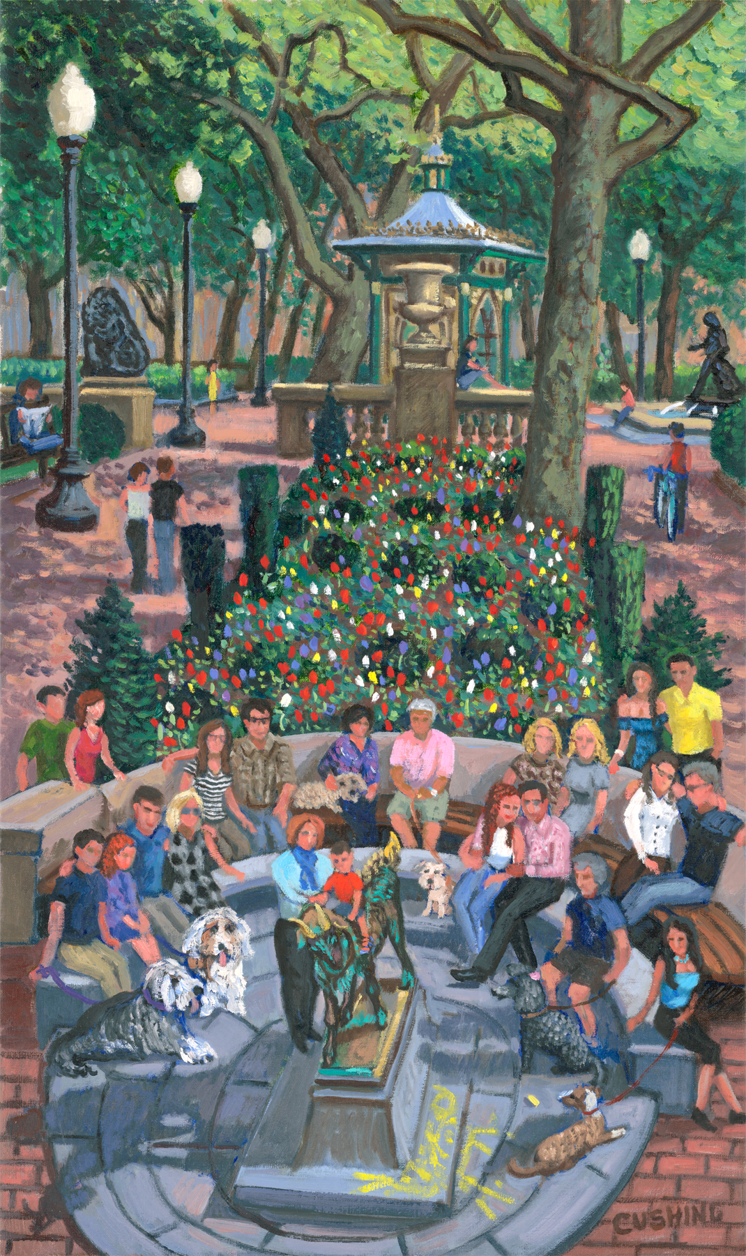 """""""Gathering by the Goat, Rittenhouse Square""""  30 x 18"""" (sold)"""