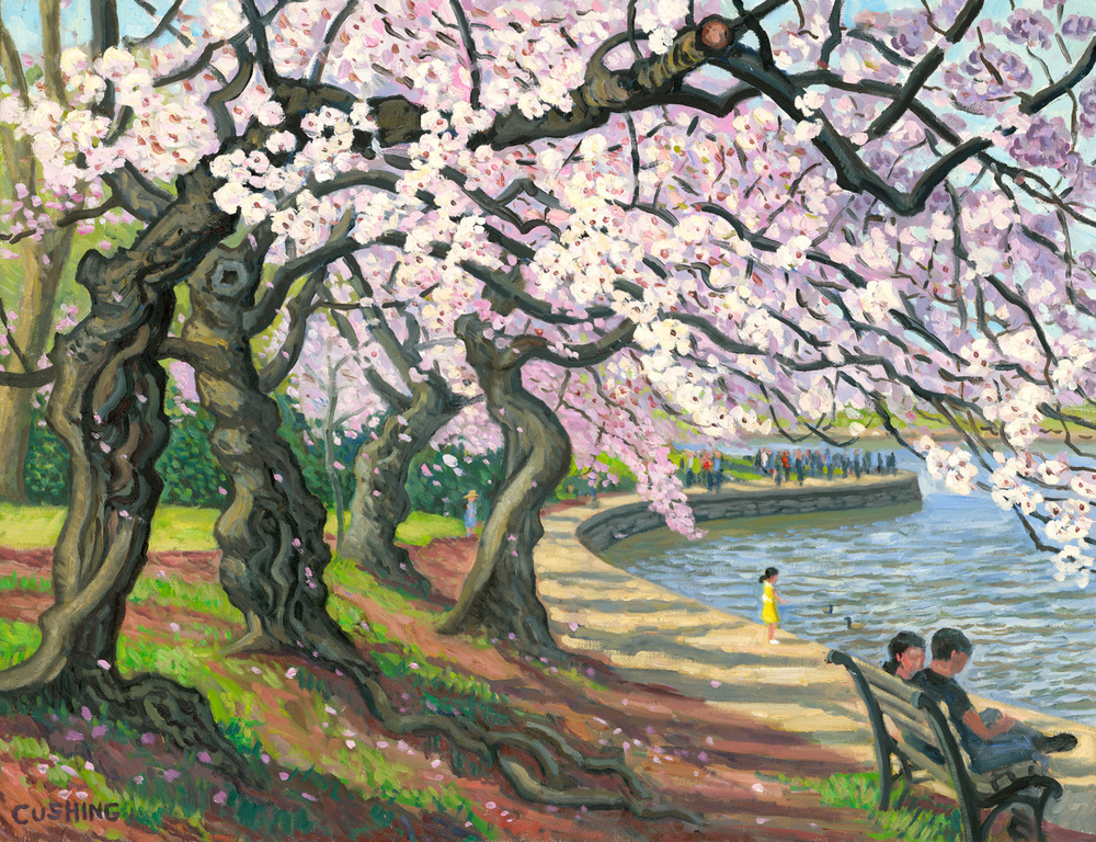 "Cherry Blossoms, Tidal Basin, Washington, D.C.""  27 x 35""  (sold)"