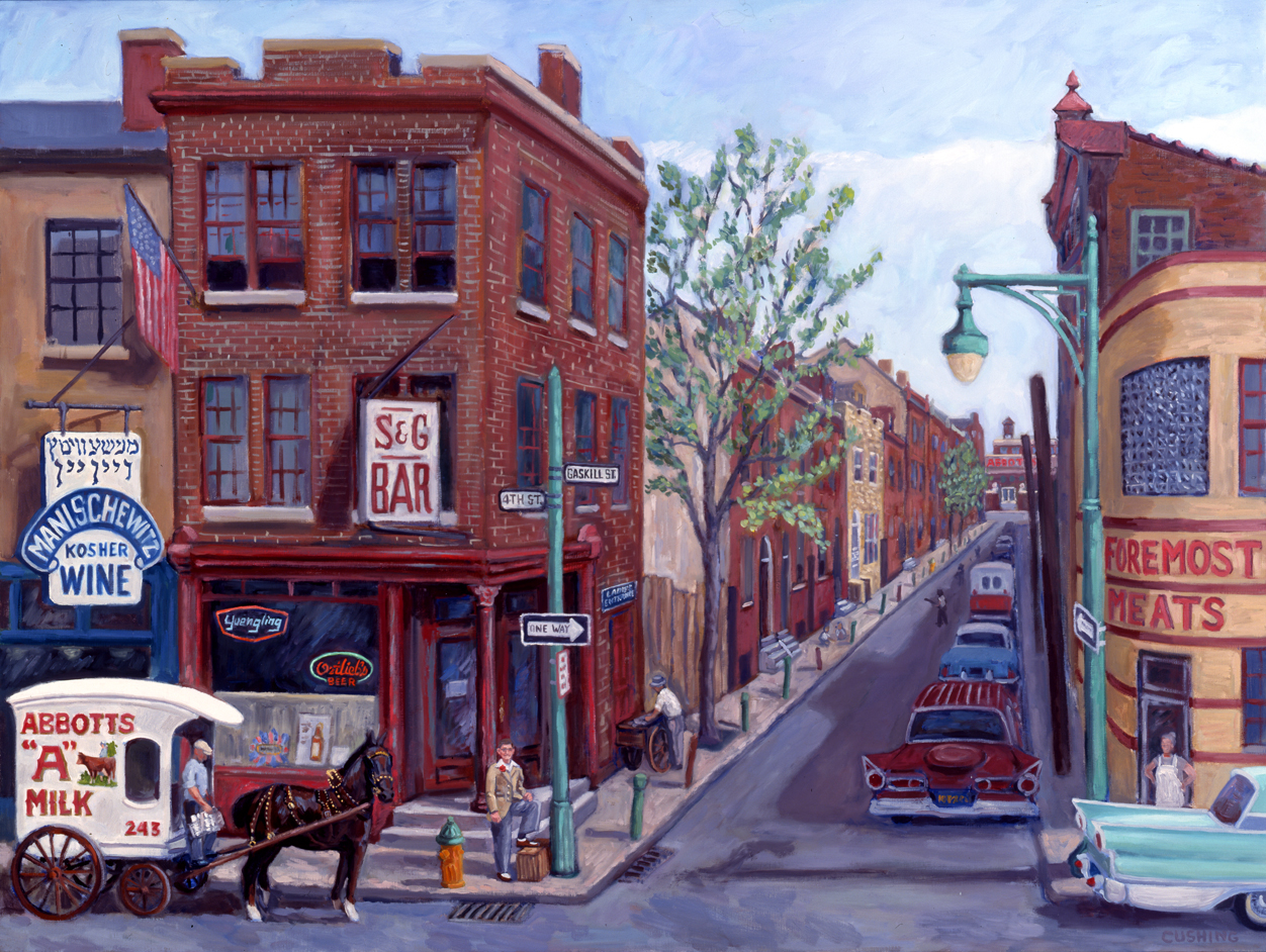 "'Philly Neighborhood Circa 1955""  32 x 52"" (sold)"
