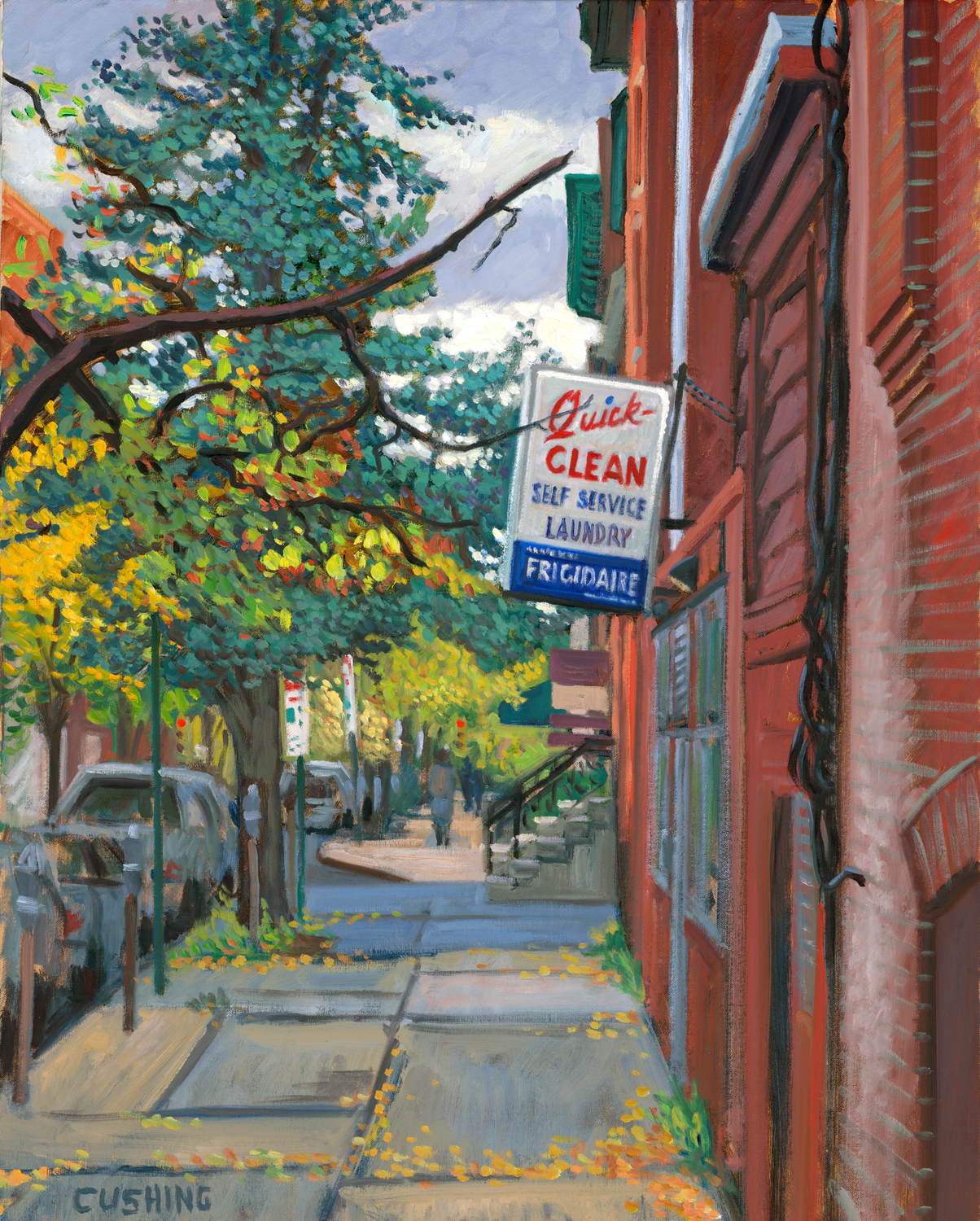 """""""Quick-Clean, 10th and Spruce Streets, Philadelphia""""  30 x 24""""  $3,000.00"""