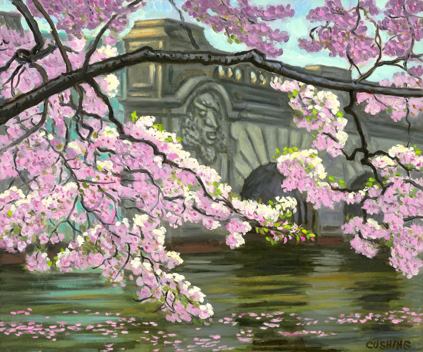 """Cherry Blossoms and Bridge, Washington, D.C.  20 x 24""  (sold)"