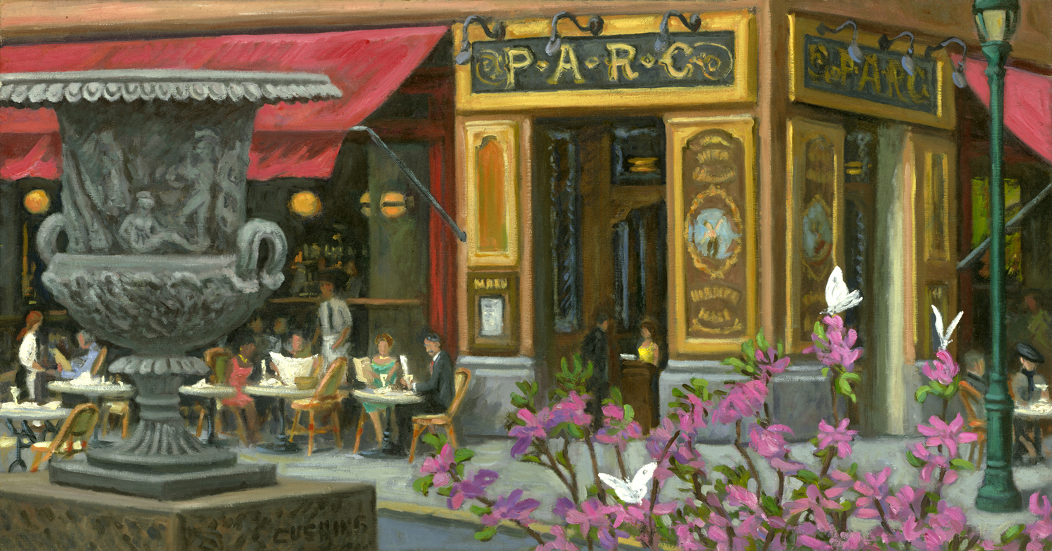 """""""Urn and PARC Restaurant"""" 19 x 36""""  (sold)"""