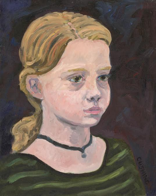 """Portrait of Cara"" painted in an hour at as a demo in my daughter's first grade classroom."