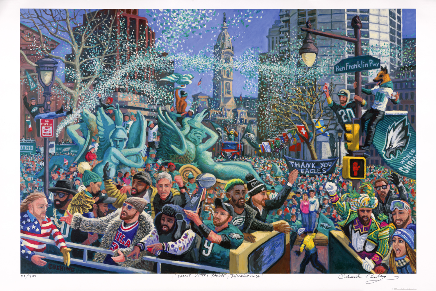 """Hot off the press! My  """"Eagles Victory Parade""""  painting is available as a 24 x 36"""" offset lithograph on 100 lb paper, signed, titled, and numbered in my hand beneath the image (see photo of the print itself). This image is ALSO available as a high-quality """"giclee"""" canvas print in four sizes; 18x 27"""" ($250.00), 24 x 36"""" ($350.00), 32 x 48"""" ($500.00), 40 x 60"""" ($800).These are prices for unmounted and unframed print, shipped rolled in a tube shipping is $10.00 extra. I also offer mounting and framing options, and special sizes. Click on STORE page to order or call me for details at 267-679-7853."""