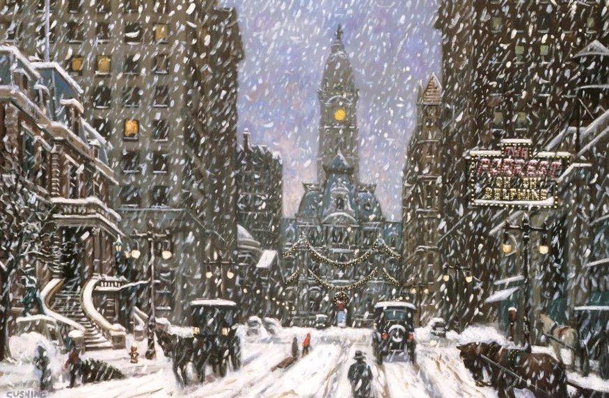 """Blizzard on Broad Street, Circa 1910""   36 x 60"" (sold)"