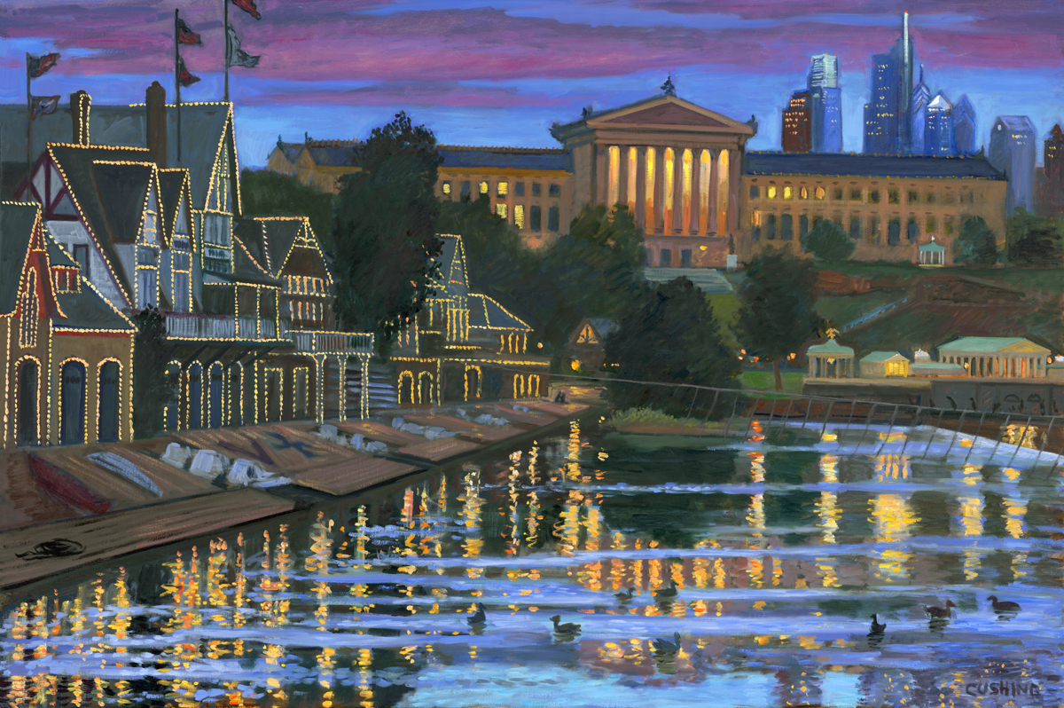"""""""Dusk, Boathouse and Art Museum""""   36 x 52""""  (sold)"""