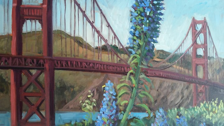 detail of a painting of the Golden Gate Bridge….