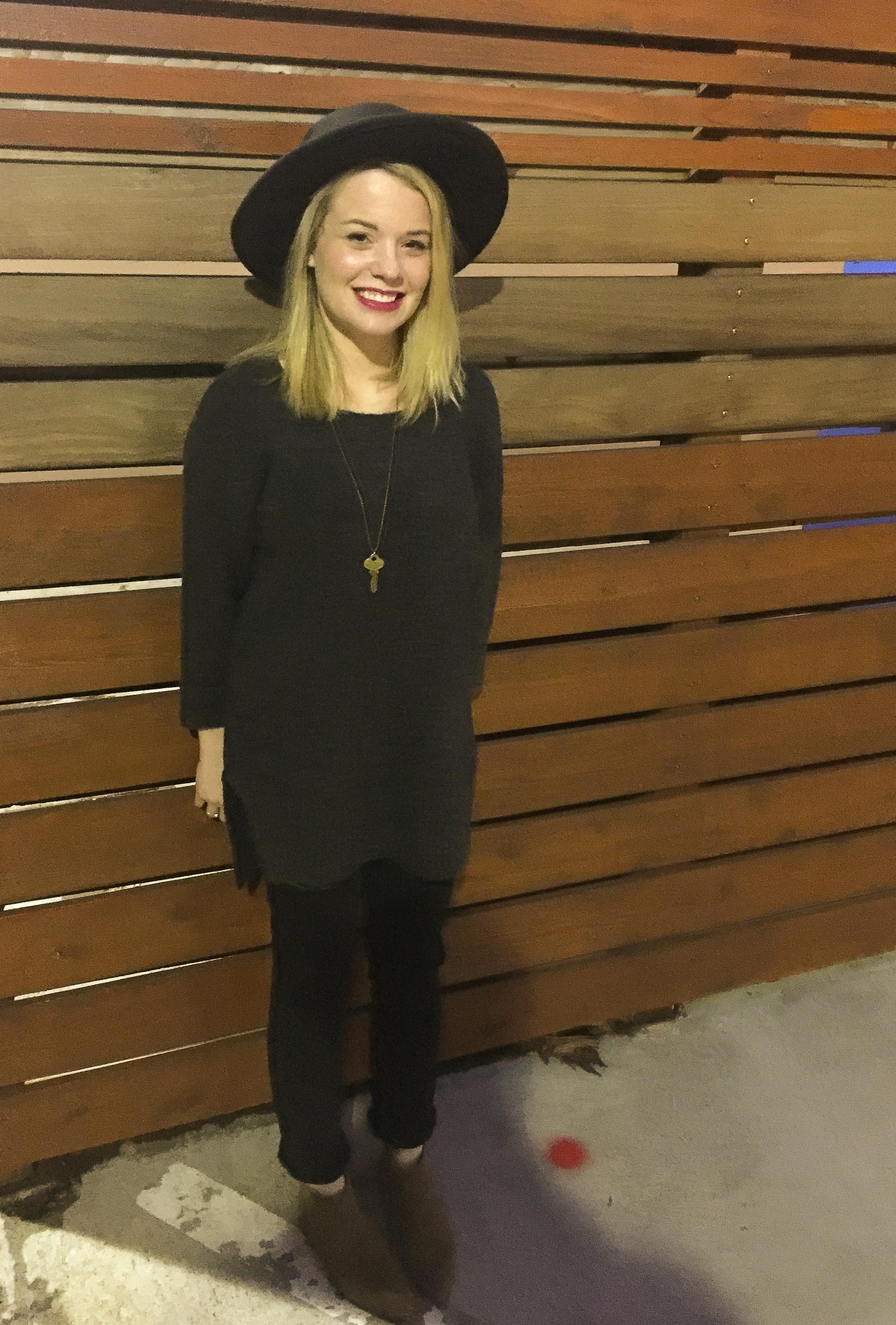 Black Ripped Girlfriend Jeans (GAP), Cow Suede Booties (GAP).