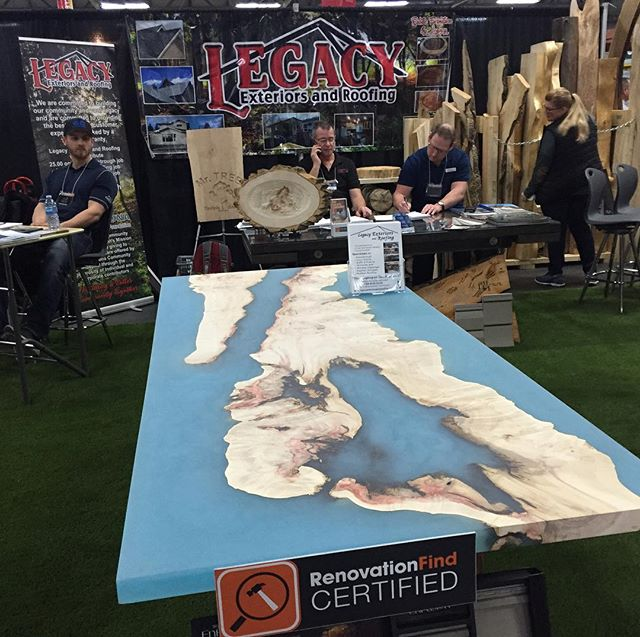 A big shout out to Legacy Exteriors And Roofing, I am sharing a booth at the Edmonton Home And Garden Show show with them and look what they created out of an epic Relic slab I salvaged two years ago from St Albert