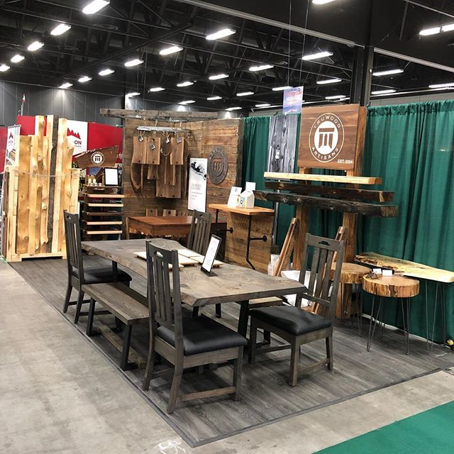 Our friends at @truwood_artisans are at the cottage life show today. For anybody looking for amazing one of a kind custom furniture be sure to head down there and check them out. #supportlocal #customfurniture #liveedgeslabs #liveedgemantles #yegwoodworking