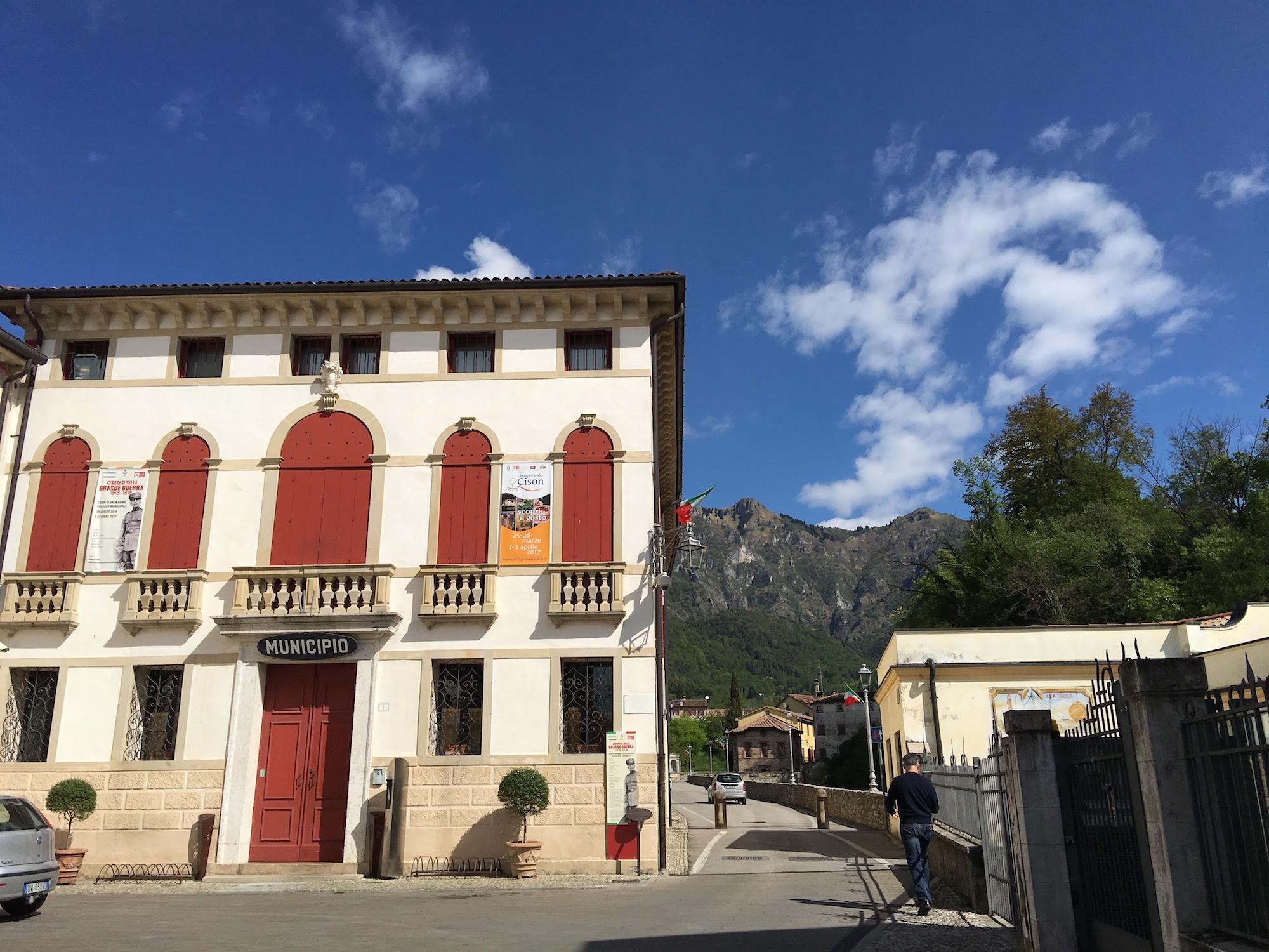 The ancient town hall building of Cison di Valmarino.