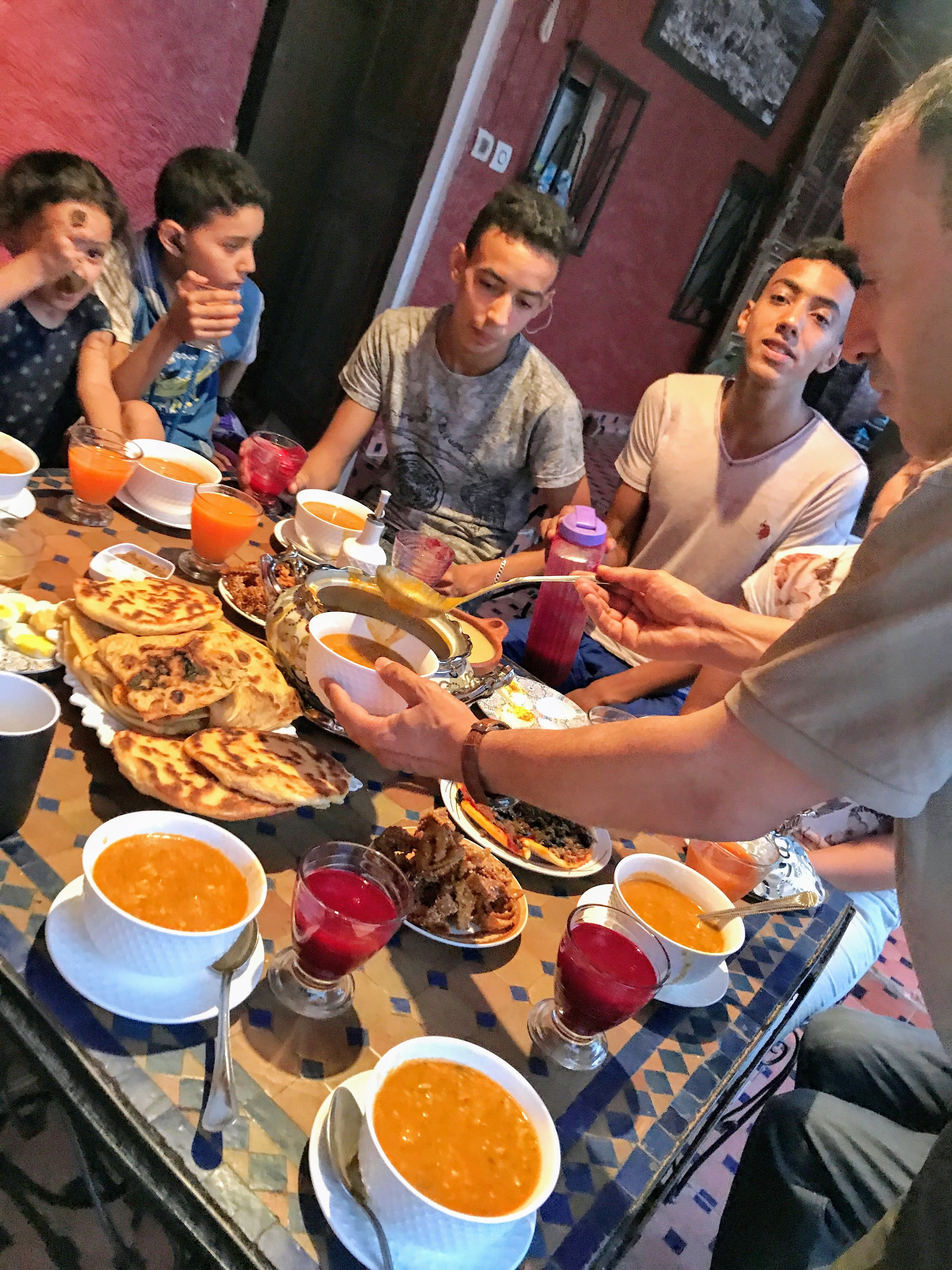 We're not Muslim, but we were invited by our host in Fez, Morocco,to join his family in breaking fast for Ramadan.