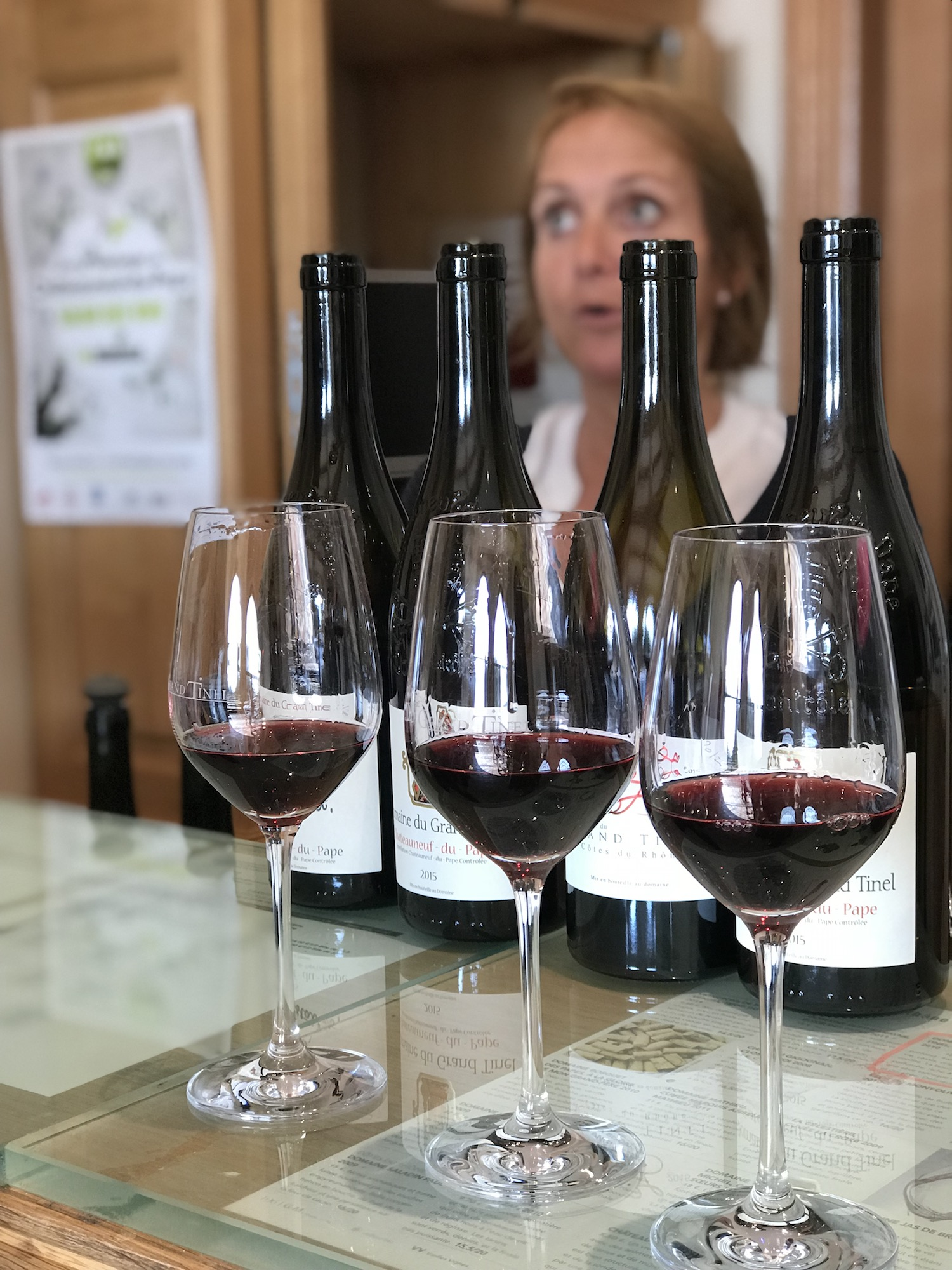 Comparing a range of Châteauneuf-du-Pape wines against one Côtes du Rhône. Tragically, most of this ends up in the spit bucket.