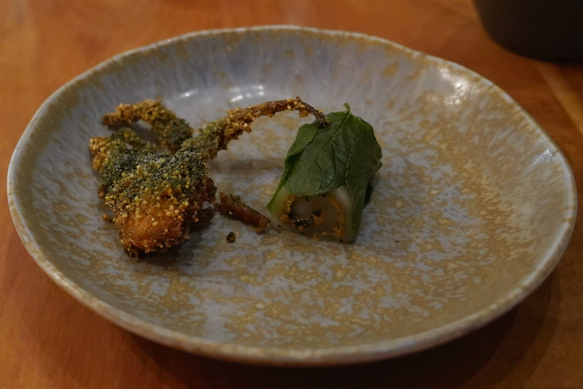 Soft shell crab, hoja santa and vinegar; and also mint and pistachio mochi.