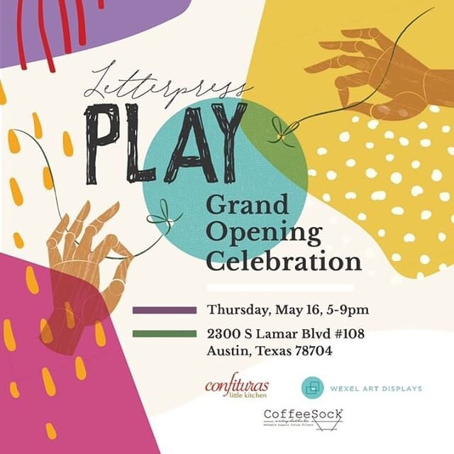 Our friends at @letterpressplay are celebrating their grand opening and it sounds like a total blast! All ages! Free! And CRAFTS!! Check out their page for more info! And congratulations!!!
