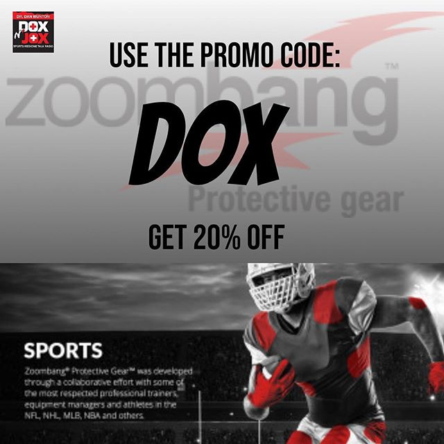 "For all of our Dox n' Jox listeners, you can now get the best of best when it comes to protective gear out there from one of our proud sponsors ZOOMBANG! Just use the promo code ""DOX"" and you'll get 20% off all Zoombang products. From specifically designed pads, to fabrics that incorporate our polymers with different kinds of additives, ZOOMBANG HAS THE RIGHT PRODUCT FOR THE RIGHT APPLICATION. 💪🤨 . . . #doxnjox #zoombang #protectyourself #sportsmedicine #talkshowradio #itunespodcast"