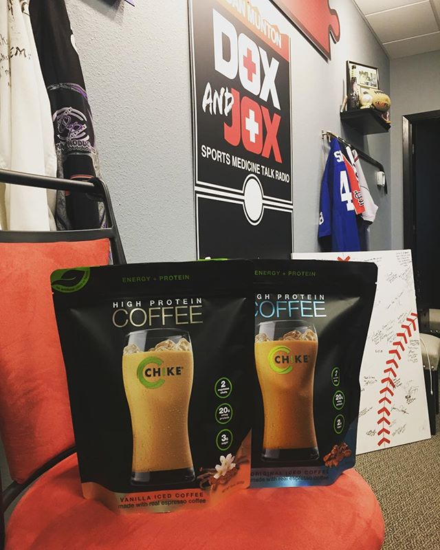 Missed our show last week? No worries! Our show is on iTunes and it's on NOW! Take a little break with some chike coffee and start your day off with @doxnjoxdr.dan and @michaelbpotter ! . . . #doxnjox #sportsmedicine #askdrdan #podcasts #sportspodcasts #chike #chikecoffee #chikecoffeeprotein