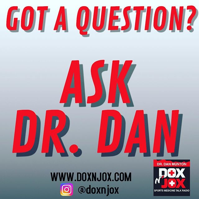 We would love to have you be a part of our show anyhow anyway! Ask Dr. Dan a question by logging in to our website doxnjox.com or email us at doxnjox.com. We're not here to replace your doctor or physician in anyway but we definitely want to help you get back on your feet as best as we can. @doxnjoxdr.dan is always excited to answer your questions! Your questions will be aired on our next show! . . .  #sportsmedicine #itunes #doxnjox #radiopodcast #talkshow #sports #askdrdan