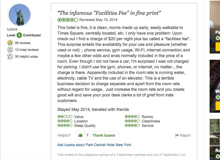 TRIPADVISOR REVIEW OF THE PARK CENTRAL HOTEL IN NEW YORK / Trip ADVISOR