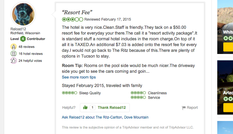 Trip ADVISOR REVIEW OF THE RITZ-CARLTON, DOVE MOUNTAIN / TRIPADVISOR.COM