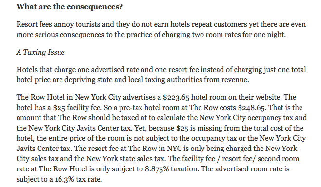 We have discussed the way resort fees do not pay the hotel occupancy tax many times before