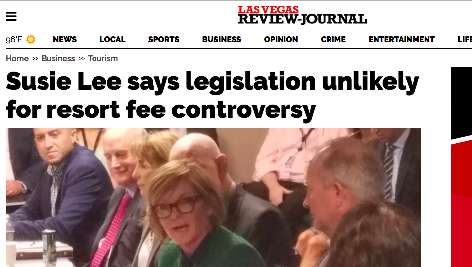 Headline from the las Vegas review-Journal august 14, 2019 About congresswoman Susie lee's comments on hotel resort fees