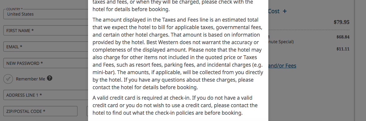 When you click taxes and/or fees you get this note about how the taxes and fees line is 'estimated' and it may not include hotel resort fees. and indeed! here no fees are displayed when you click taxes and fees despite the hotel charging FEES.