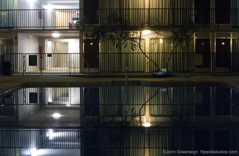 Motel pool at night. Ogden, UT
