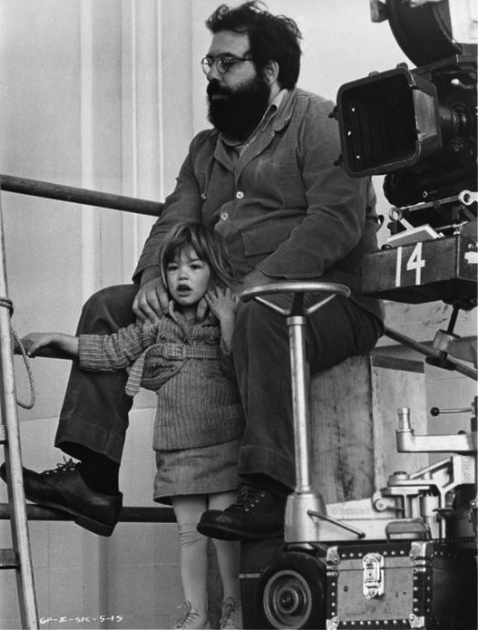 Dad goals right here.  Francis & Sofia Coppola on set, 1970s.