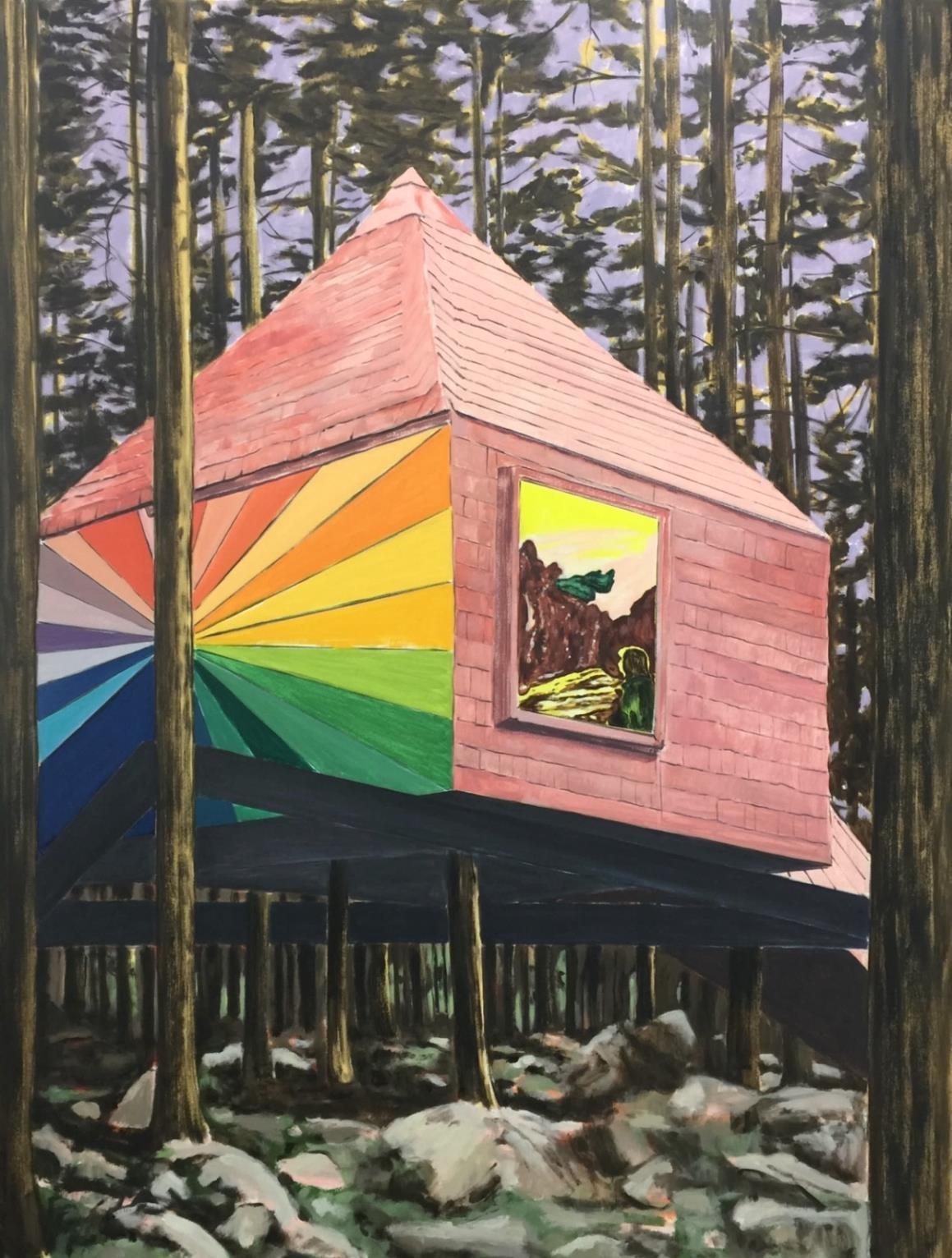 The Optimist, The Fool,  2018 Acrylic and oil on canvas 197 x 152 cm