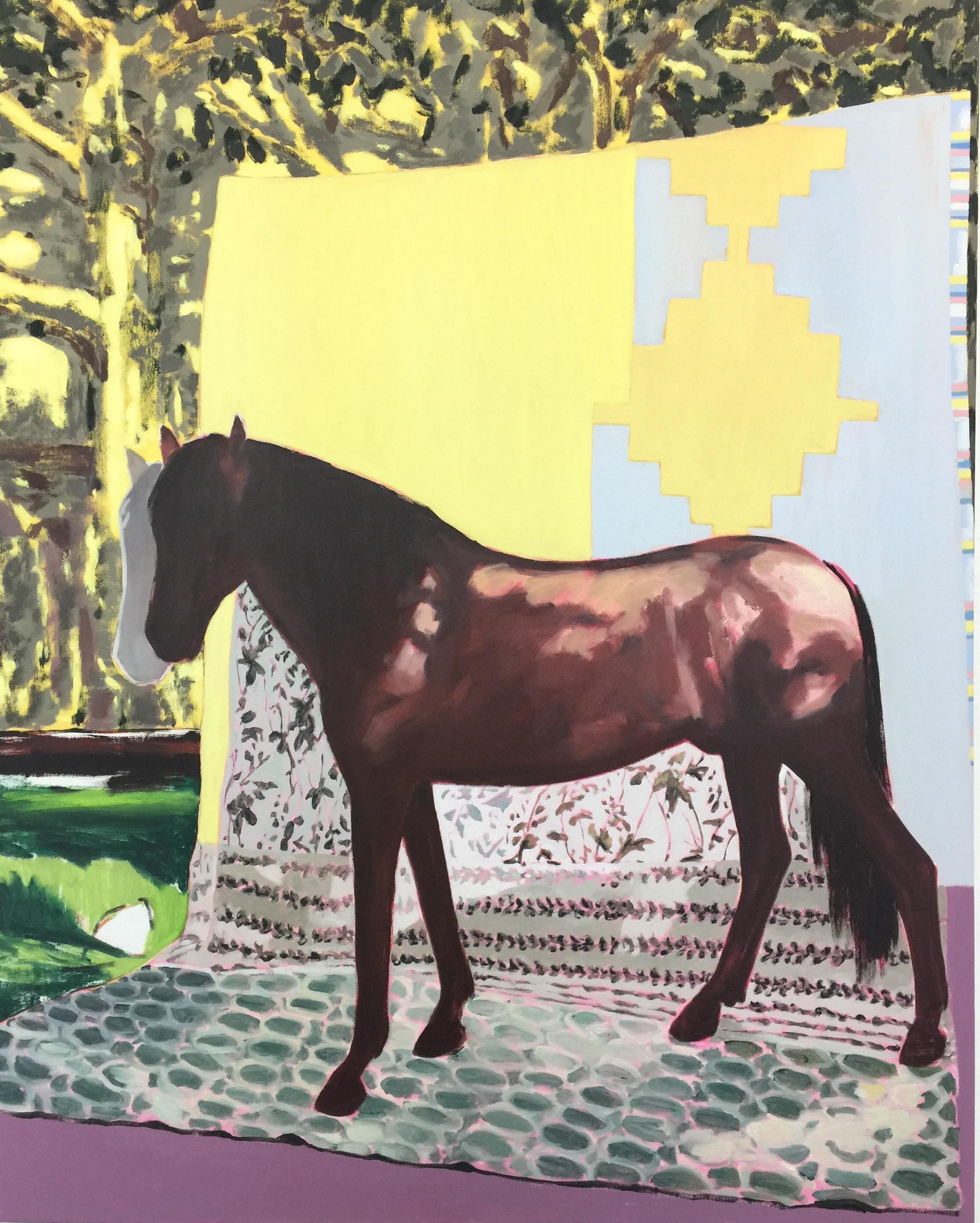 Riderless , 2019 Acrylic and oil on canvas 152 x 122 cm