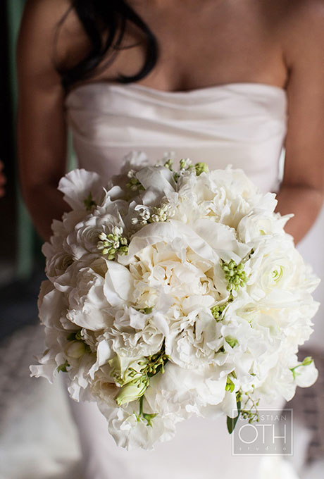 Photo by - Michael Falco of Christian Oth Studio; Bouquet - by Belle Fleur; As Seen In - All-White Wedding Bouquets