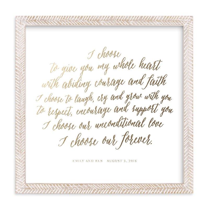 Your Vows as a Foil Art Print via Minted
