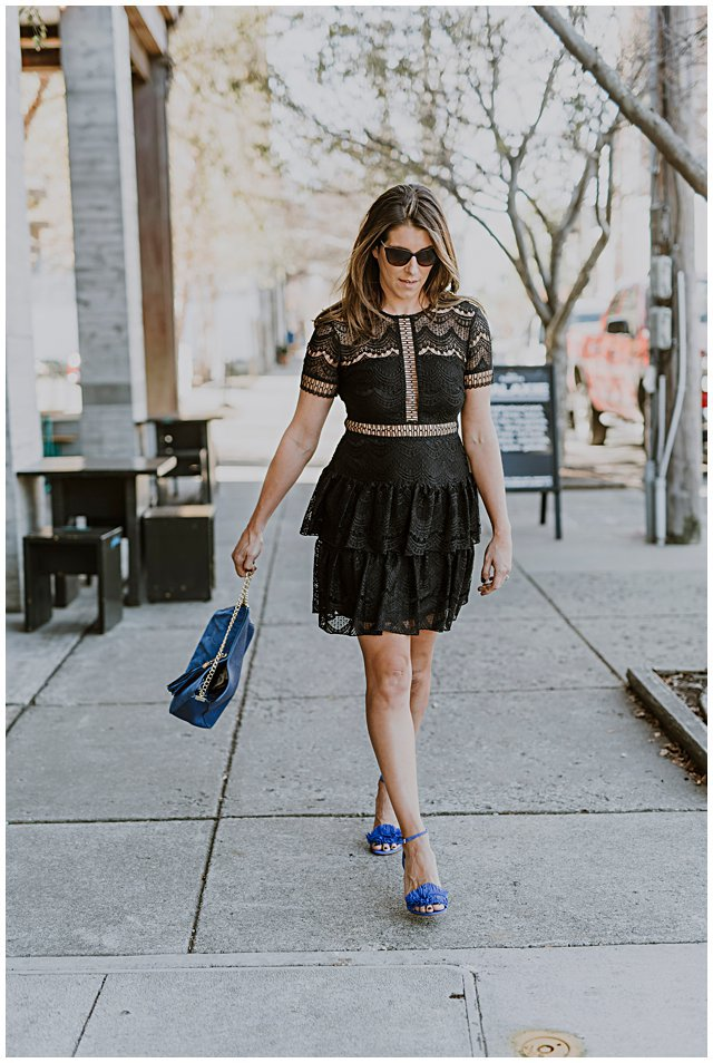 Black Blue Party Dress via Lou What Wear
