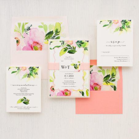 Beacon Lane - blush and coral floral - blush cactus wedding invitation