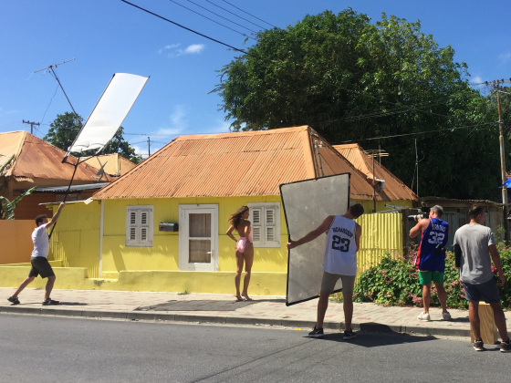 Barbara Palvin being photographed in Curacao Janine Berey