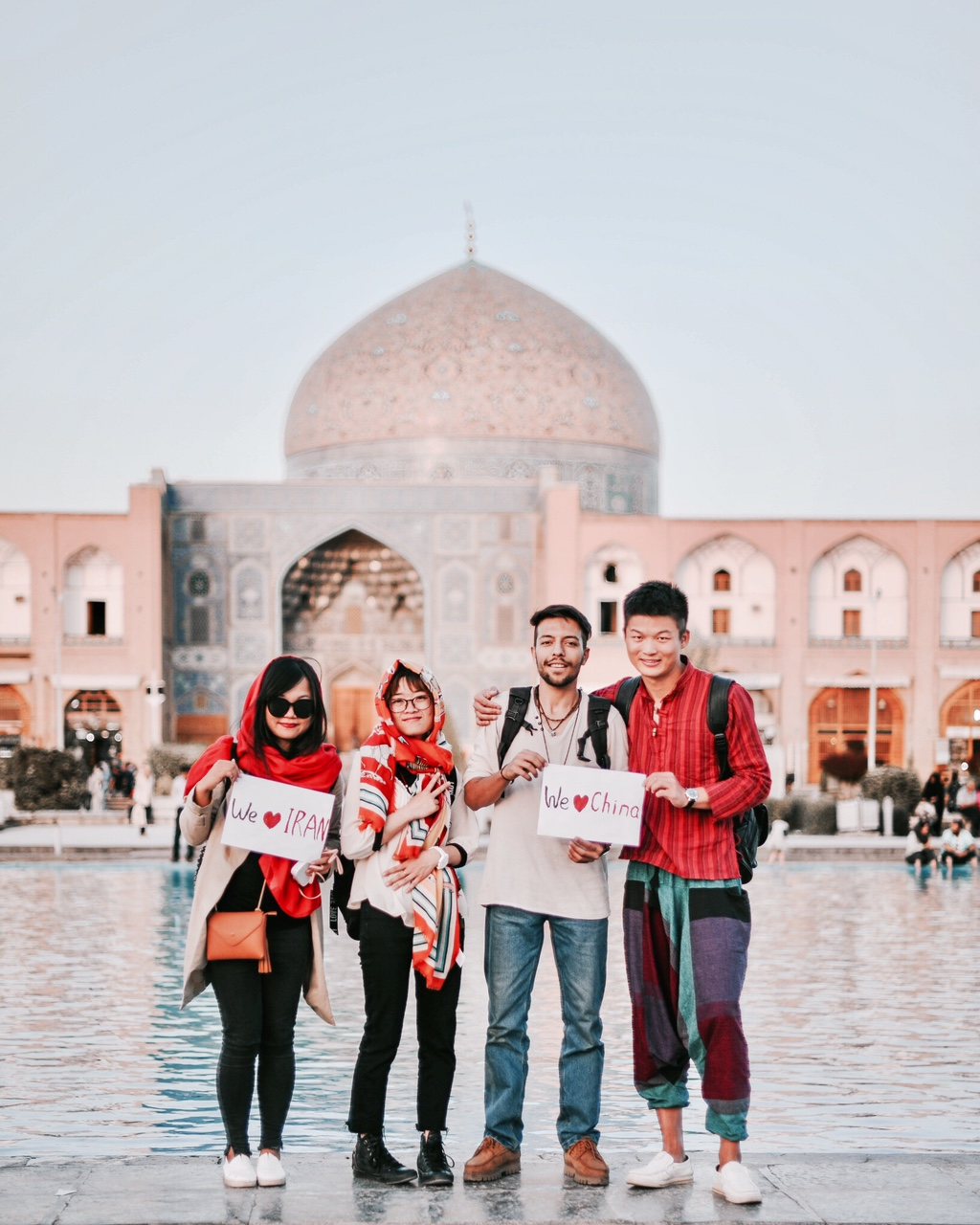 Alireza Takhsa with friends at Firuz Bahram School, Tehran