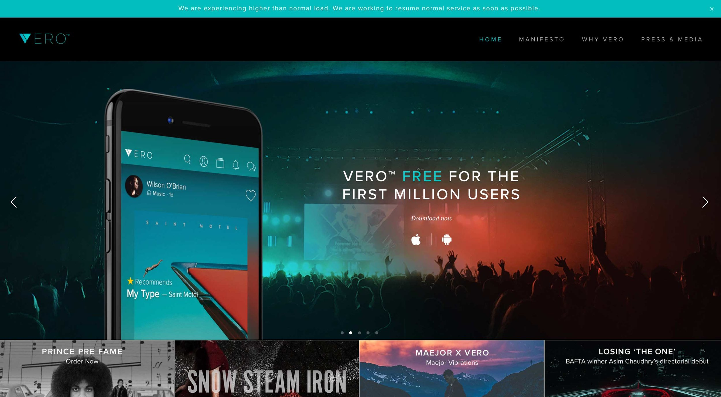 Vero website platform