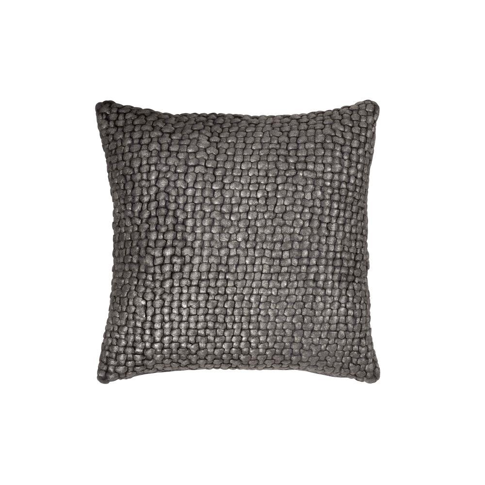 Metallic Palm Basketweave Pillow