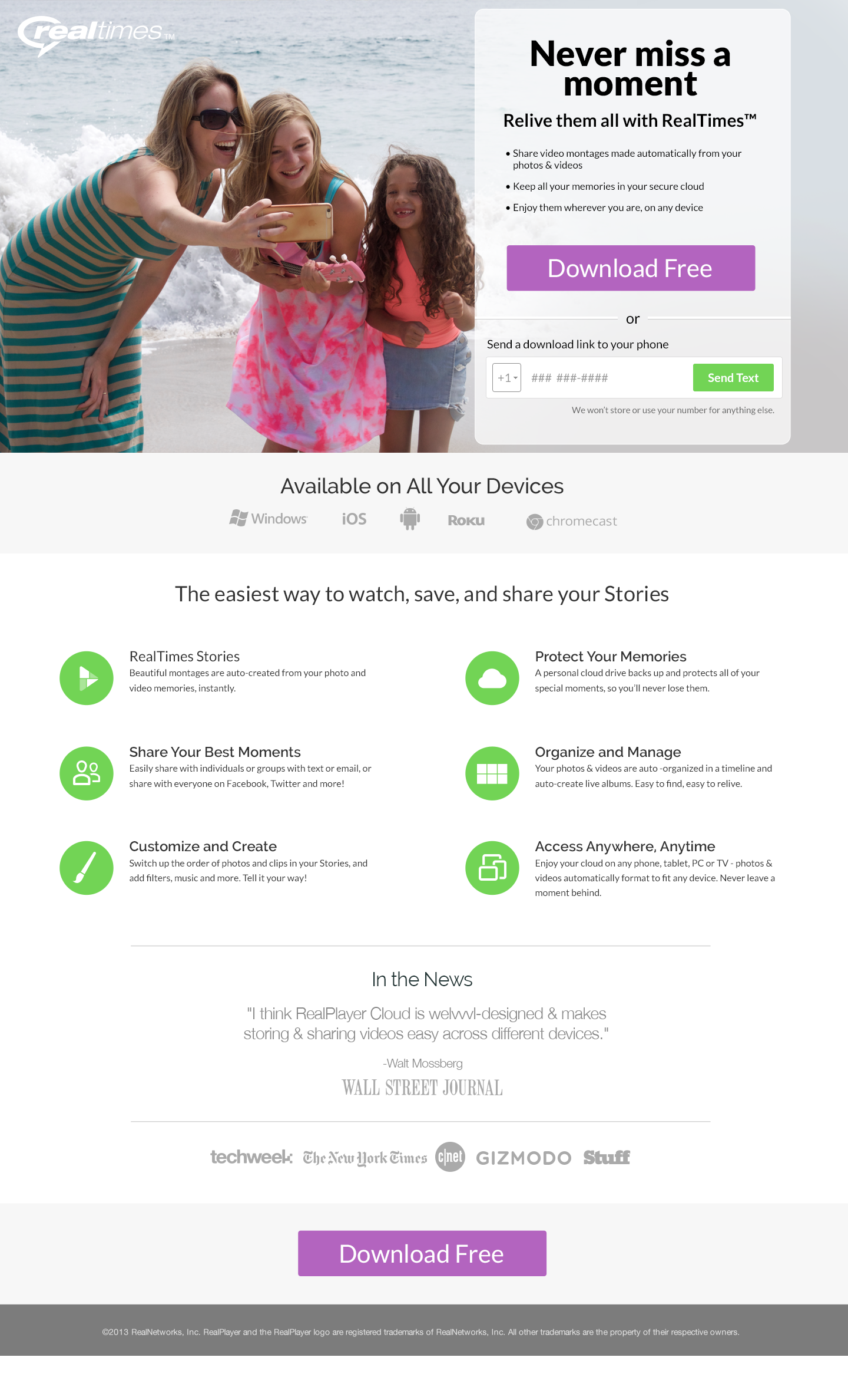 RealTimes Launch Emails Landing Page