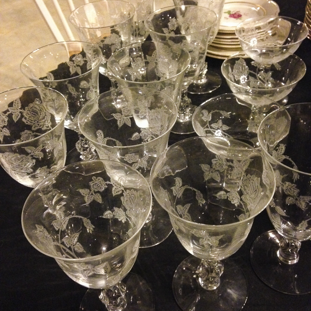 Dolly Madison etched glasses