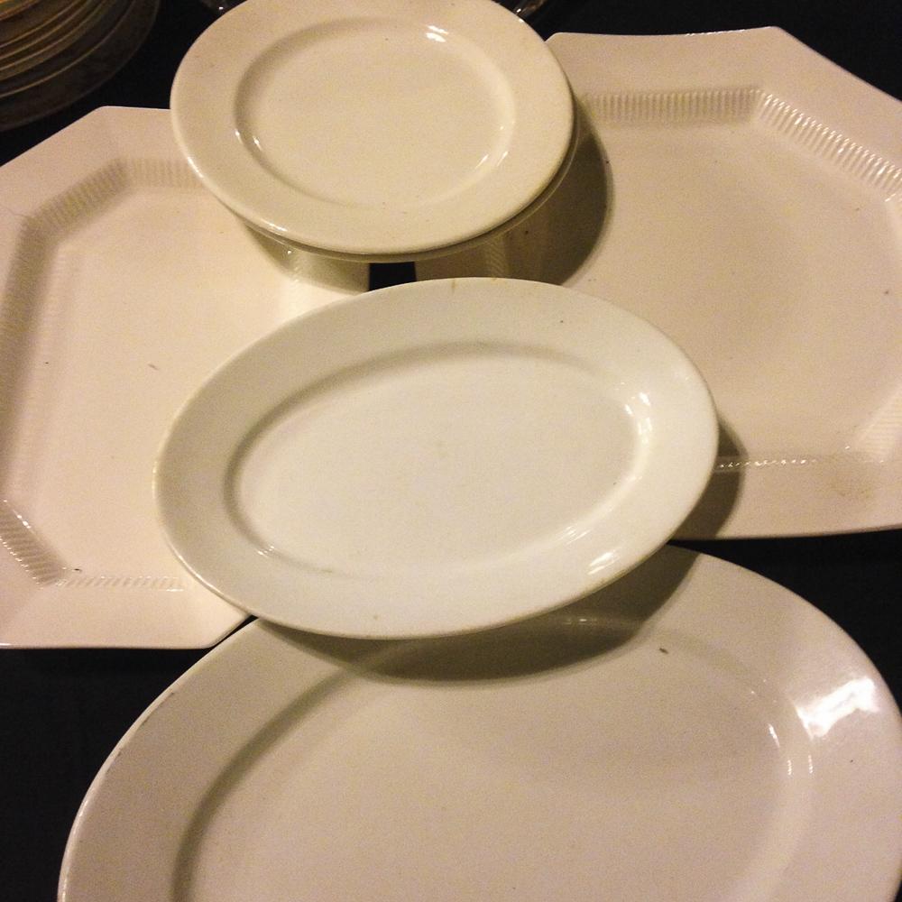 White serving platters